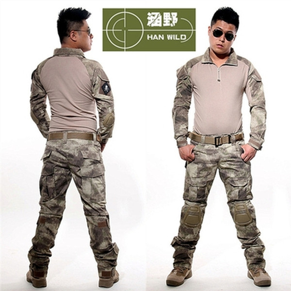 Atacs AU Tactical Uniform Clothing Army Combat Multicam Uniform Tactical Shirts Pants with Knee Pads Camouflage Set