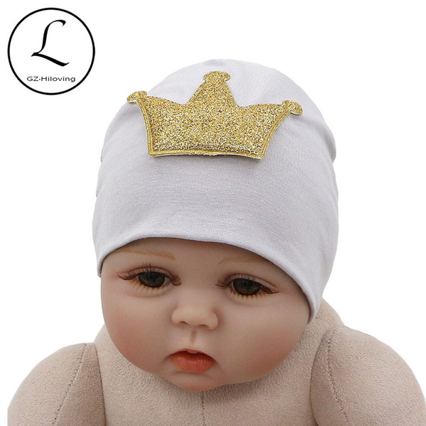 2018 GZHilovingL New Cute Cotton Crown Hat Beanies For Newborn Baby Girls Boys Spring Winter Soft Infant Toddler Kids Photography Hat