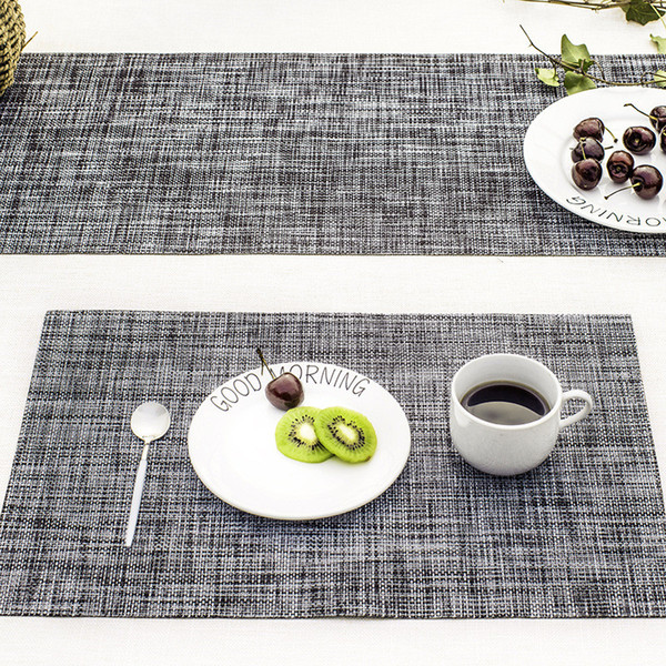 Wholesale 1 PCS Solid Woven PVC Placemats Non-slip Table Mat Dish Pads Bowl Pad Coasters Heat Insulate Table Cloth Table Decor