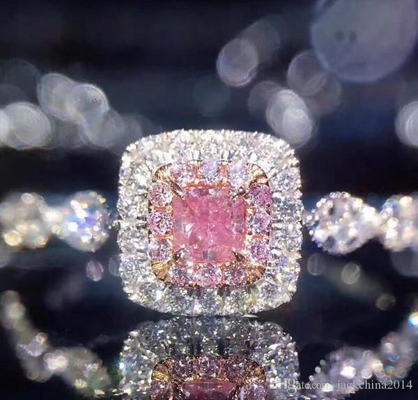Виктория Wieck роскошные ювелирные изделия стерлингового серебра 925 Принцесса вырезать розовый сапфир CZ Алмаз цирконий свадьба женщины обручальное кольцо SZ 5-10
