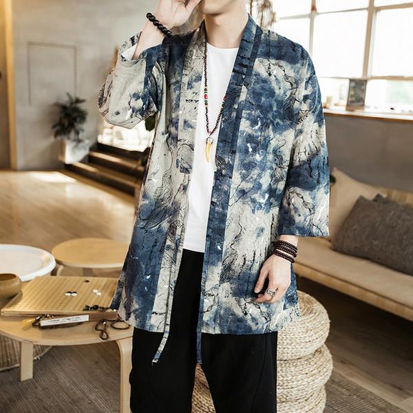 2018 autumn mens harajuku ukiyo fish print kimono cardigan jackets japanese style casual streetwear coat gown