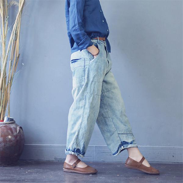Hosen für Frauen 2018 Frauen Hosen Vintage lose gewaschen Plus Size Jeans für weiche beiläufige Boyfriend-Jeans Pluderhosen S530