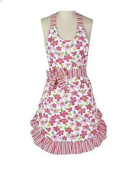 Pink flower girley Cotton cooking apron