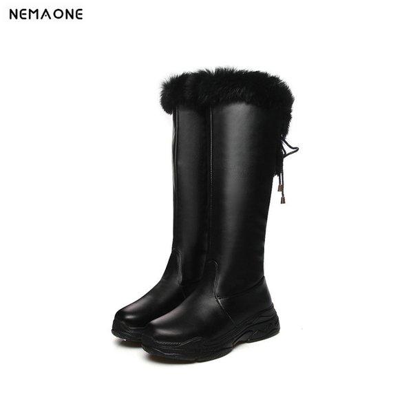 Compre NEMAONE Plataforma Plana Botas De Nieve Mujer Negro Blanco Mujeres Rodilla Botas Altas Otoño Invierno Mujeres Impermeables Moda Zapatos