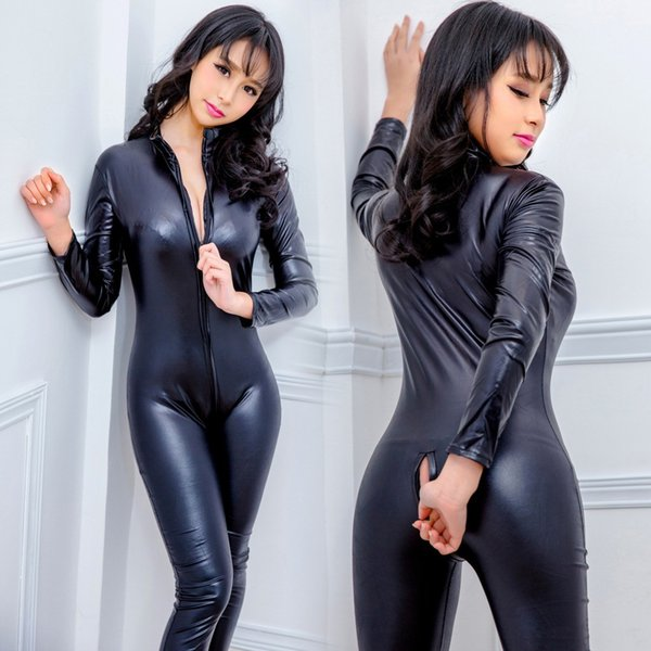 Women Sexy Black Open Crotch Zentai Catsuit Jumpsuit Spandex Faux Leather Leggings Pants Club Zipper Long Sleeve