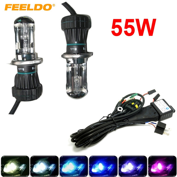 FEELDO 55W Car Xenon Headlight H4 9003 Hi/Lo Bi-Xenon HID Repalcement Bulbs & Wire Harness AC 12V #2423