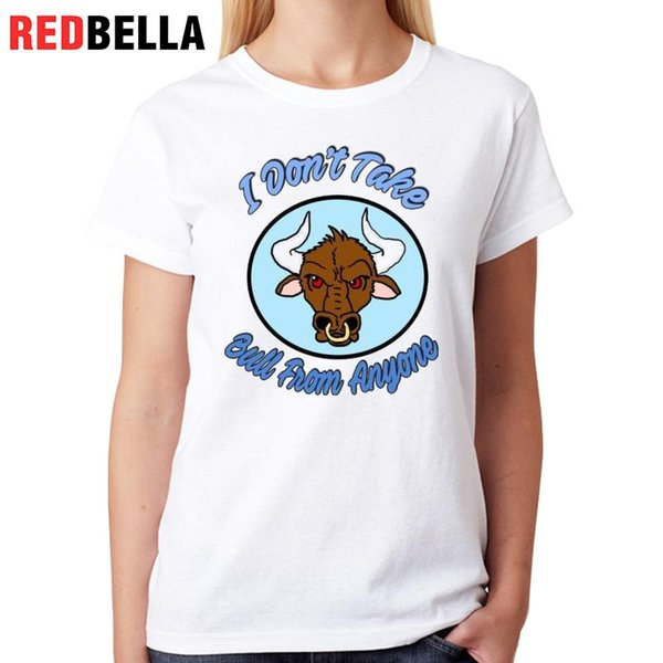 Women's Tee Redbella T Shirt Woman Cool Animal Parody Cartoon Bull Head Funny Camisetas Mujer Print Women Tops Casual Tees Femininas Womens