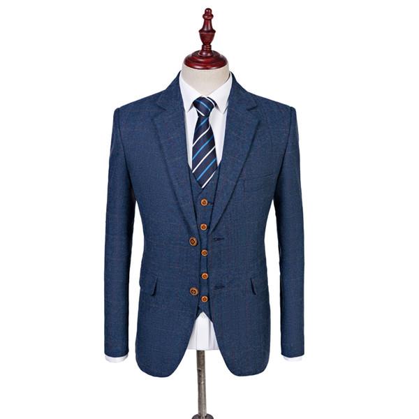 Wool Blue Herringbone Retro gentleman style custom made Men's suits tailor suit Blazer suits for men 3 piece (Jacket+Pants+Vest) S18101903