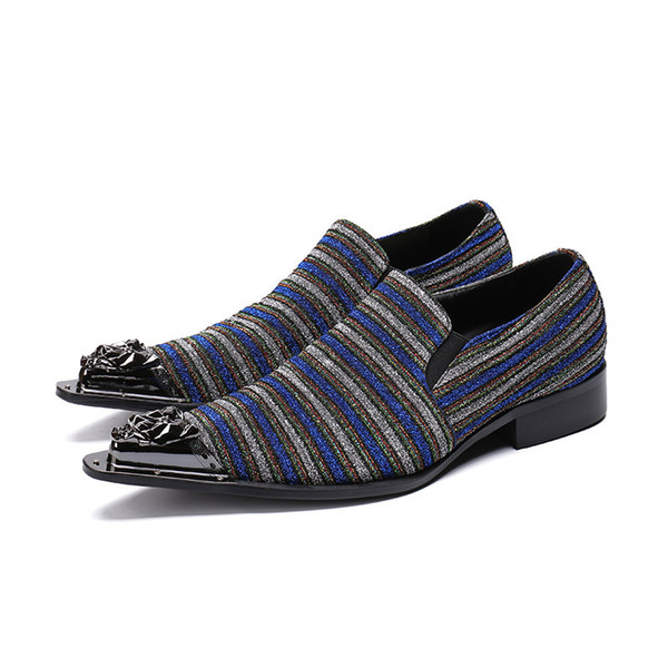 Luxury Italian Style Mens Shoes Black/Blue Leather Dress Shoes Handsome Pointed Iron Toe Business and Party Shoes Men