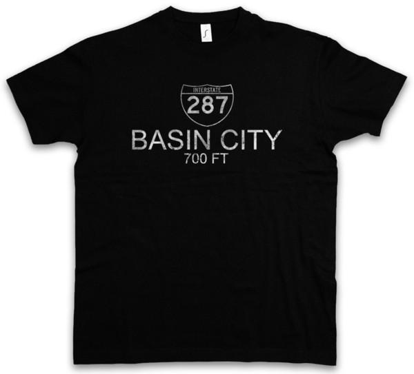 T-shirt da cidade da bacia Logotipo do símbolo do sinal de estrada Rua de Ortsschild de um estado a outro