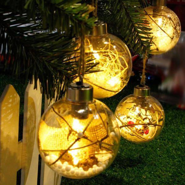 Merry Christmas Tree LED Bulb Light Ball Clear Plastic Ornament Christmas Ball Garden DIY Wedding Festival Decoration
