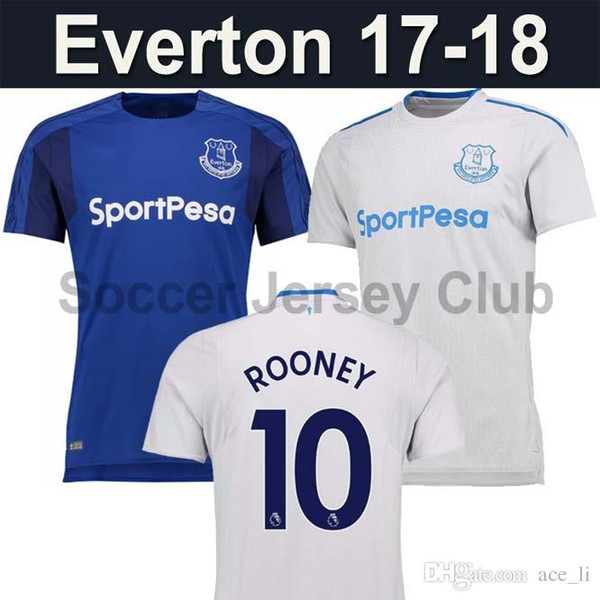 size 40 60ee7 24e09 2019 17 18 Everton Away White Soccer Jersey Thai 2017 2018 ROONEY LENNON  BOLASIE MIRALLAS BARKLEY Coleman Home Blue 17 18 Football Shirts From  Ace_li, ...