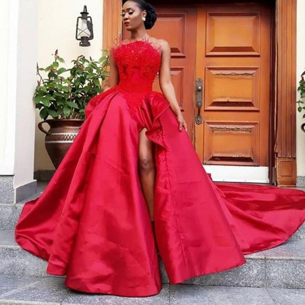 Red Feather Sexy Prom Dresses Strapless Appliques Side Split Satin Celebrity Evening Dresses Formal Wear Gorgeous Cocktail Party Gowns