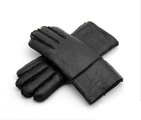 2017 Winter Warm Leather Men's Gloves Genuine Leather Sheepskin Men Gloves Wool Male Mittens Thermal Hand-made Brand
