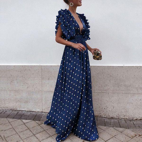 Sexy Polka Dot Printing Long Women Evening Dresses Deep v Neck Ruffles Pleats Cap Sleeves Slim Waist Floor Length Party Dress S-3XL 2019