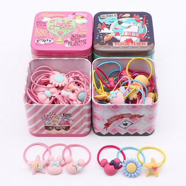New 40Pc Elastic Rubber hair bands Girls Kitty floral ponytail holders headband Cartoon mixing elastic hair ring accessories Q18