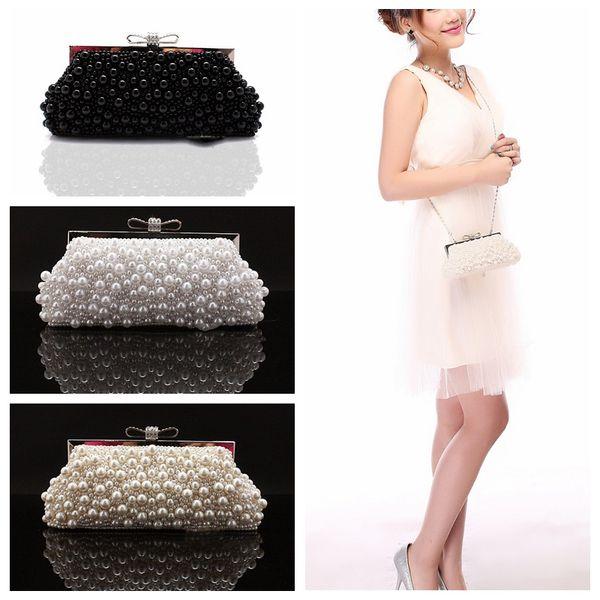 2019 Square Pearls Rhinestone Beaded Ladies Hand Bags Cheap Bridal Wedding Hand Bags Accessories Evening Handbags Crutch Bag One Shoulder