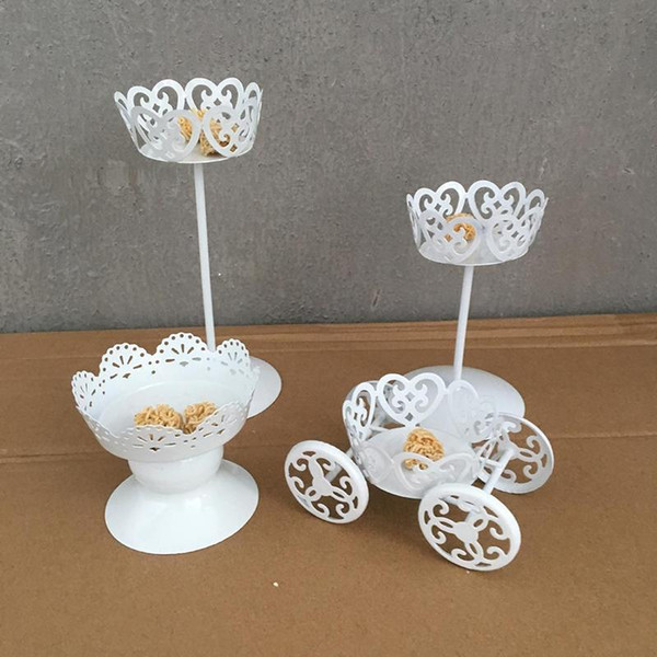 1pc Vintage Metal Wedding Cupcake Stand Cake Dessert Pastry Display Holder White Elegant Wedding Party Decorations CHW2785
