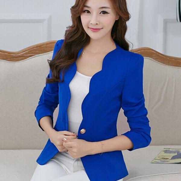 Office Lady Solid Blazers Women Slim Suit Jacket Lace Autumn Long Sleeve Elegant Blazer Blue White Plus Size 2XL Casual Button