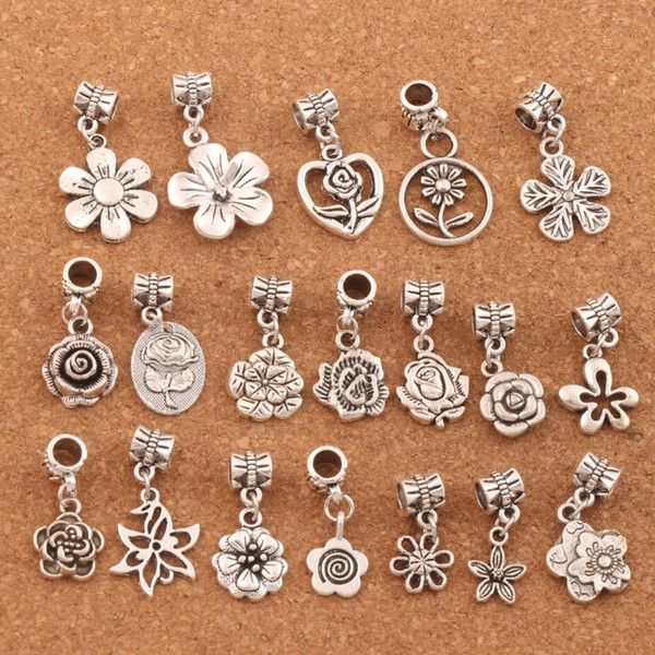 top popular 190pcs lot Flowers Dangle Alloy Big Hole Beads Tibetan Silver Fit European Charm Bracelet Jewelry DIY BM55 LZsilver 2021