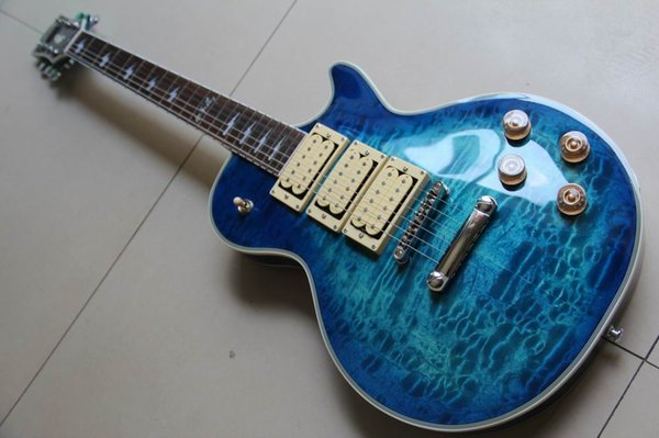 Wholesale New Arrival Cibsonlpcustom Ace frehley signature electric guitar style In Blue Burst120710