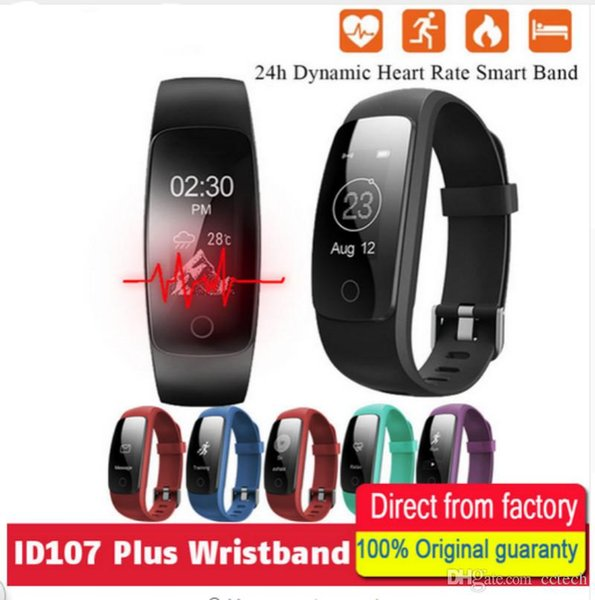 IP68 waterproof Smart Band Bracelet New ID107Plus HR Heart Rate Bracelet Monitor Wristband Health Fitness Tracker For Android OS VS MI Band