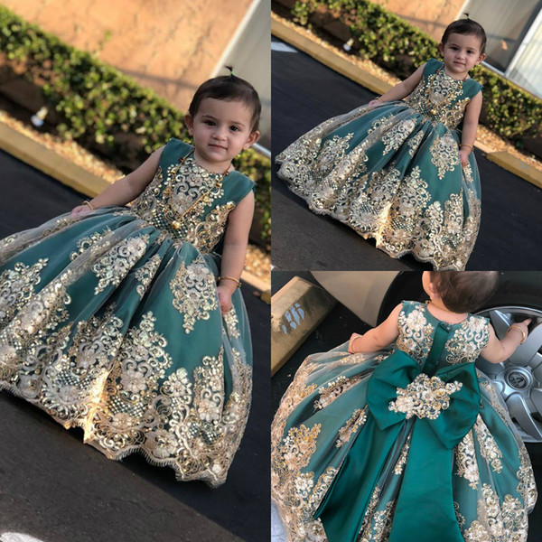 Compre Vestidos Bonitos Para Niñas De Flores Apliques De Encaje Seuqins Bow Niños Concurso Vestido De Fiesta De Bodas Primera Comunión Vestidos De