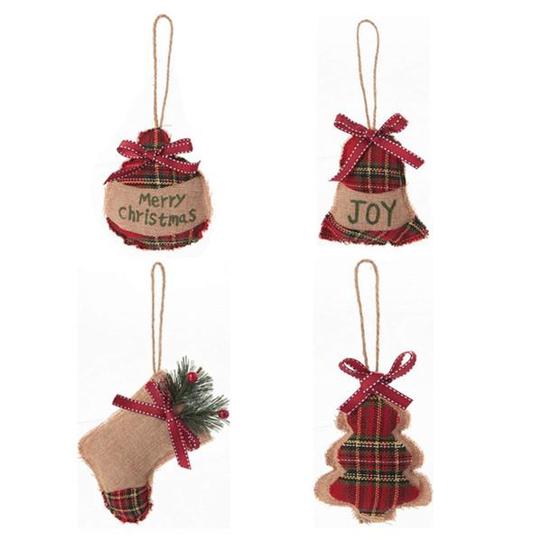 Wholesale 4pcs/Set Christmas Tree Ornaments Linen Stocking Christmas Decorations Burlap Stocking/Ball/Tree/Bell Gift bags