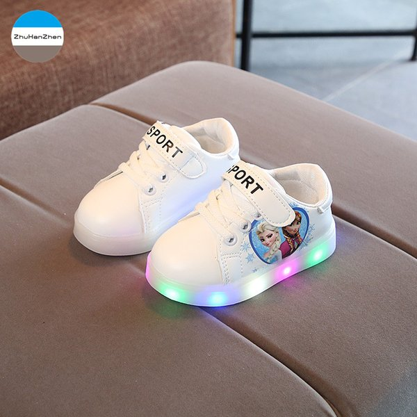 2018 Cartoon animation baby lights shoes LED boys girls toddler shoes glowing newborn soft bottom first walk 1 to 5 years