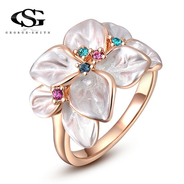 whole saleGS 2018 New Arrival Big Sale Jewelry Ring Rose Gold Color Austrian Crystal White Enamel Flower Ring for Women Y3