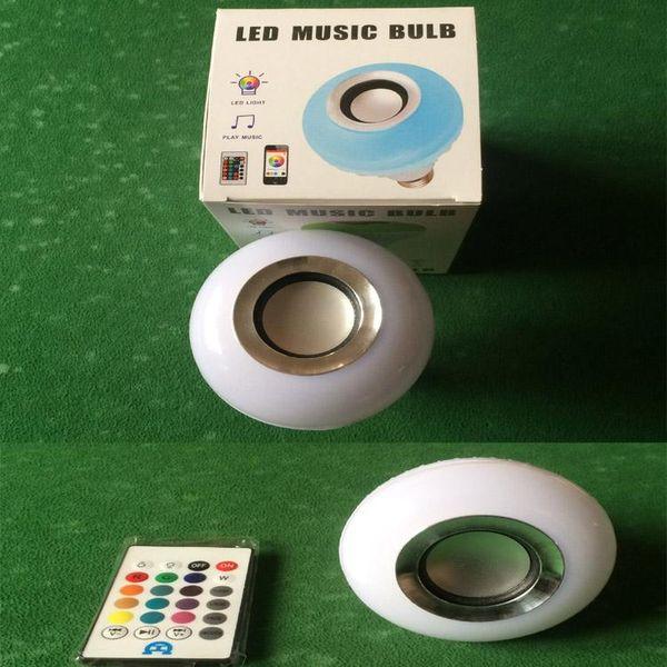 LED bombilla de música bluetooth inalámbrico 12W E27 B22 LED RGB Altavoz Bluetooth Bombilla de potencia con música Reproducción de luz Lámpara + control remoto