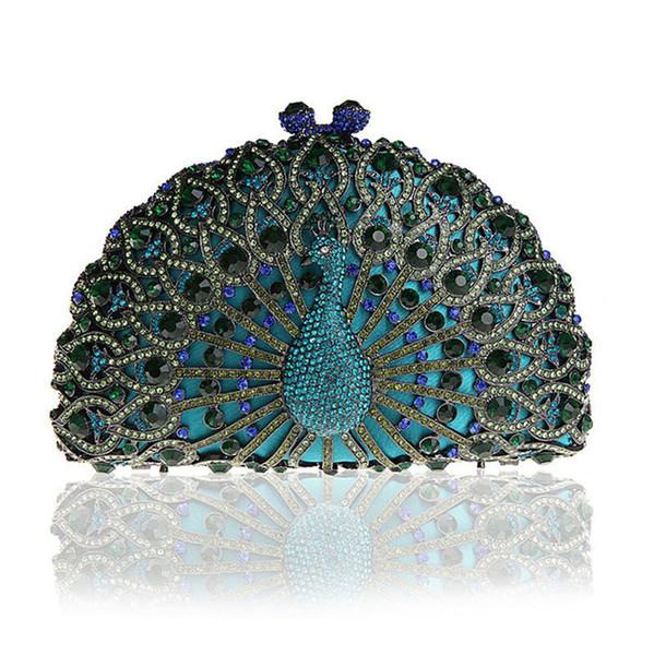 Dgrain Small Peacock Minaudiere Handbag Purse Wedding Box Socialite Hollow Out Women Animal Crystal Evening Bags