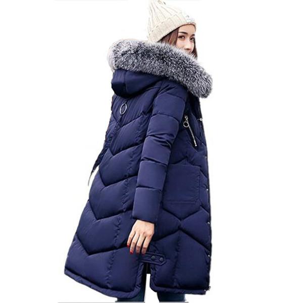 Winter Women Hooded Coat Fur Collar Thicken Warm Long Jacket Female Outerwear Parka Women Winter Jacket Ladies Chaqueta Feminino S18101505