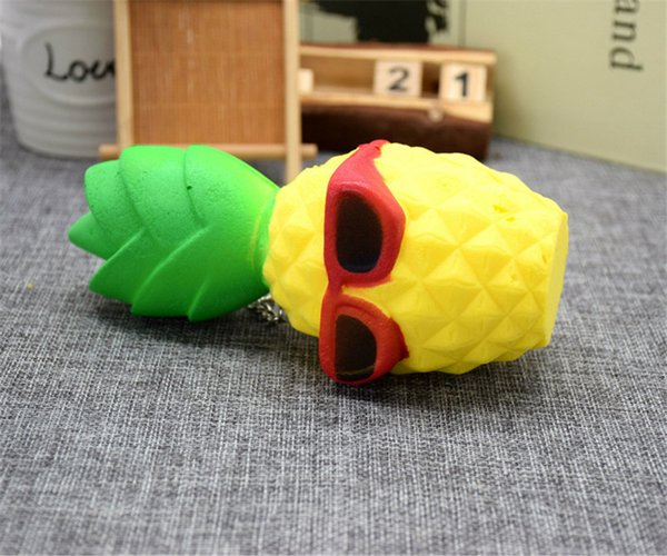 2017 Pineapple Squishy Sunglasses Decompression Jumbo Scented Simulation Squishies Decoration Kids Toy Glasses Squeeze Gift Free Shipping