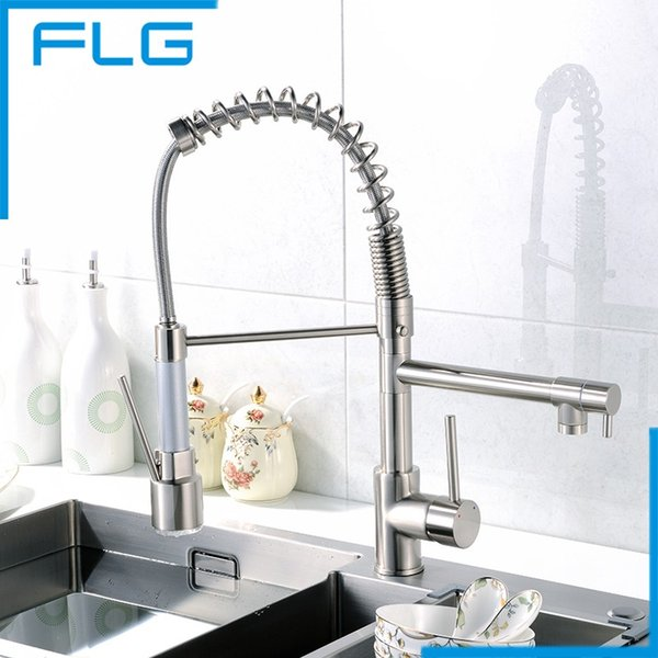 FLG Kitchen Faucet Pull Out Nickel Brushed 360 Degree Rotating Cold and Hot LED Kitchen Taps Griferia Cocina
