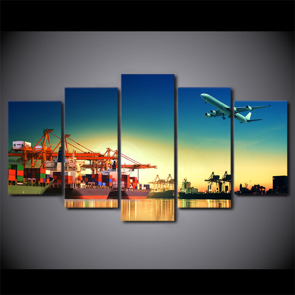 HD Printed 5 Piece Canvas Art Airplane Sunset Painting Port Wall Pictures Poster For New year Decoration Free Shipping NY-7323C