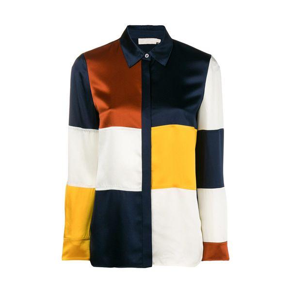 2018 Amerika Colorblock Geometrik Baskı Uzun Kollu% 100% İpek Saten Lady Yayıldı Yaka Bluz Kadın Gömlek MBL921 Tbouch Güz Sonbahar
