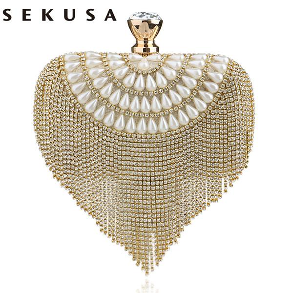 SEKUSA Newest tassel crystal women bag luxury imitation pearl evening bags wedding beaded day clutches small purse bag