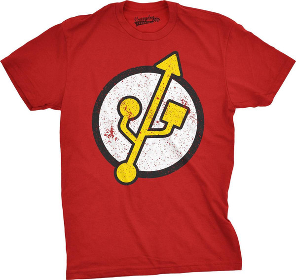 Flash Drive Funny Retro Vintage Cool Nerd Gaming T shirt Mens 2018 fashion Brand T Shirt O-Neck 100%cotton T-Shirt Tops Tee