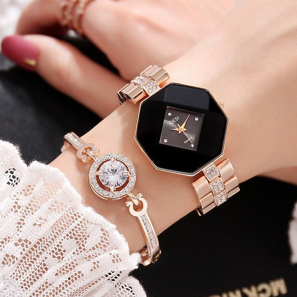 2018 New GEDI Fashion Rose Gold Women Watches Top Luxury Brand Ladies Quartz Watch 2 Pieces Watches Relogio Feminino Hodinky Y1890304