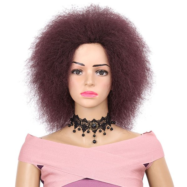 Hot selling Afro Kinky Curly Wig Simulation Human Hair Afro Kinky Curly Wigs for Black Women in Stock Natural Black/99J/27#
