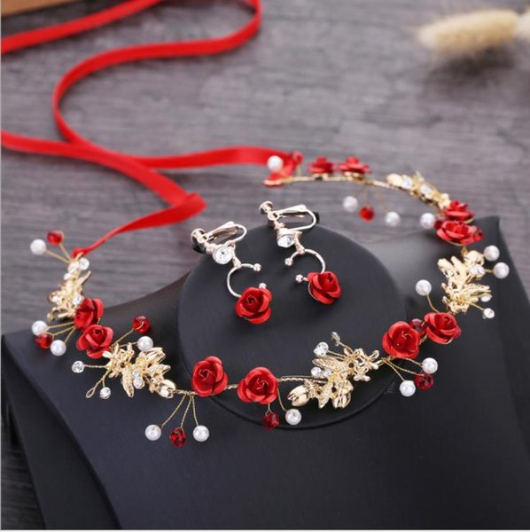 2018 new Korean bridal headwear, hair dress, red jewelry, Sen Xian Mei, wedding, toast, hair accessories.