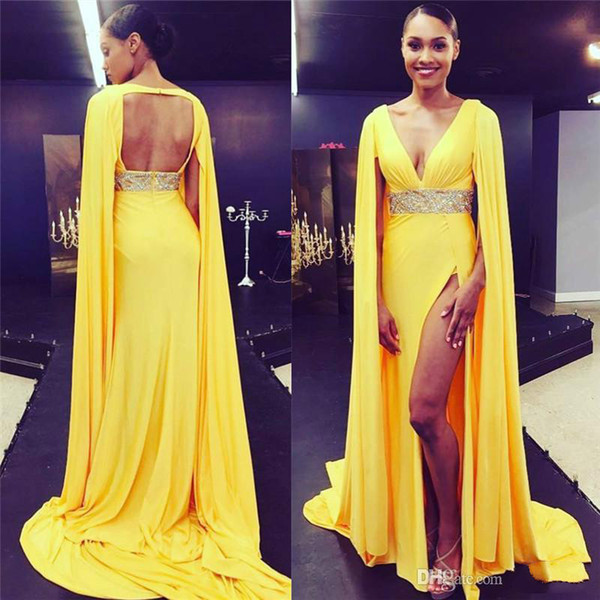 Hot Dubai Yellow Prom Dresses With Capes Cowl Deep V Neck High Split Formal Evening Gowns Open Keyhole Back Beaded Celebrity Red Carpet