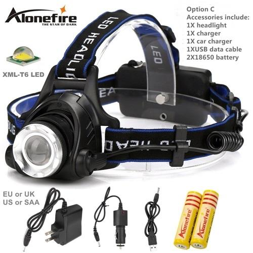 AloneFire HP79 CREE XM-L T6 LED 3800Lumens zoom Phare rechargeable LED Phare CREE Pour 18650 + chargeur voiture, chargeur