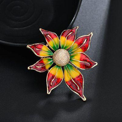 New Trend Summer Fashion New Color Sun Flower Alloy Color Glaze Brooch High-end Clothing Accessories Brooch