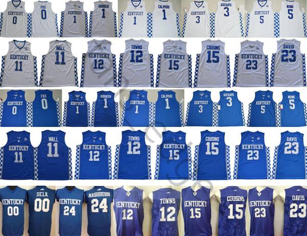 NCAA Kentucky Wildcats 00 Delk 24 Mashburn 0 Fox 4 Rondo 1 Booker Calipari 11 Wall 12 Towns 15 Cousins 23 Davis College Basketball Jerseys