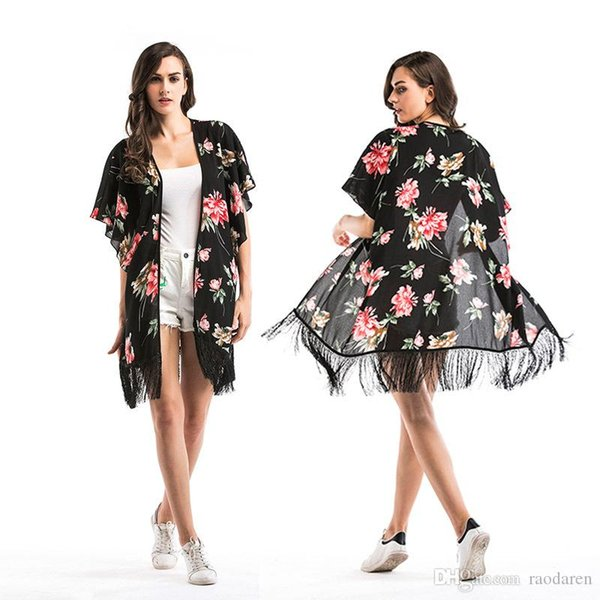 Women Swimwear Bikini Swimsuit Cover Ups Summer 2018 Beachwear Casual Chiffon Floral Print Tassel Tops Female Clothing