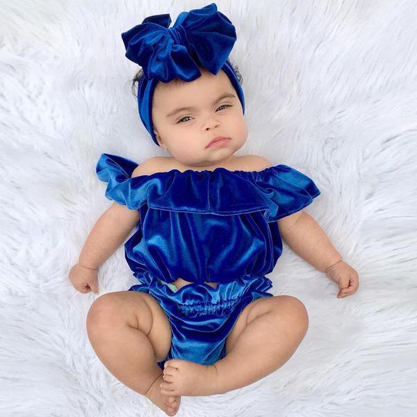 Baby Lotus leaf collar outfits INS Gold velvet Off Shoulder top+shorts 2pcs/set 2018 fashion kids Boutique clothing sets 2 colors C3586