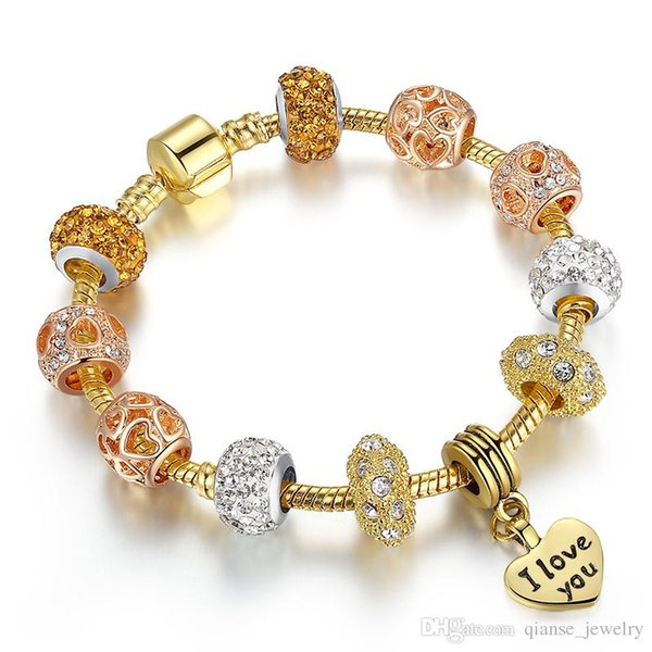 "Luxury ""I LOVE YOU"" Heart Charm Pendant Beads Bracelets European Style Rose Gold Charm Bracelet For Valentine's Gift Free Ship"