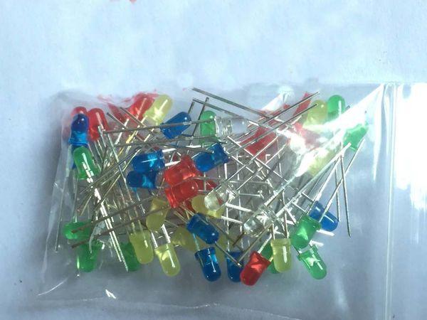 100 шт./лот 3 мм LED диод комплект смешанный цвет Ультра яркий красный зеленый желтый синий белый